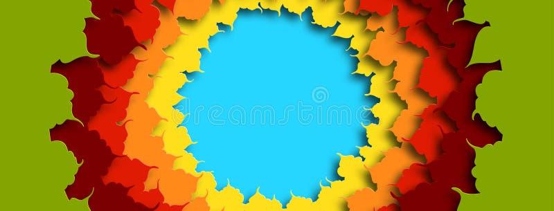Ontwerp van kleurrijke die de herfstbladeren in een cirkel worden geplaatst Malplaatje voor kappen van sociale netwerken De herfs stock illustratie