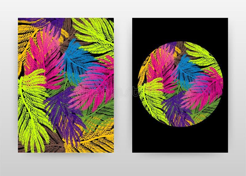 Ontwerp van kleurrijke groene, paarse, blauwe, bruine, gele palmboombladeren voor jaarrapport, brochure, flyer, poster. kleurrijk royalty-vrije illustratie