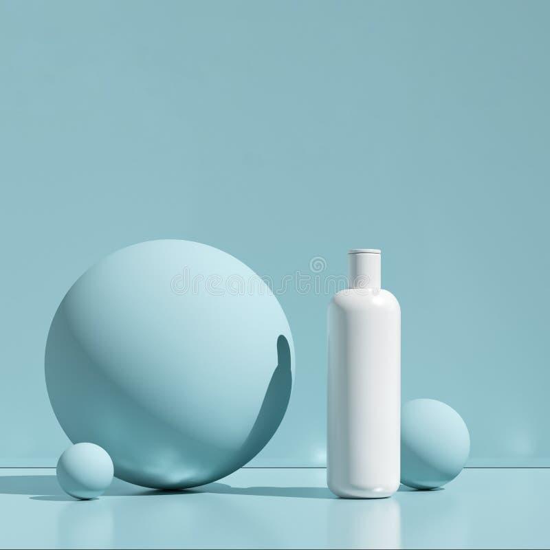 Ontwerp van natuurlijke kosmetische room, serum, skincare lege fles verpakking Biobiologisch product Schoonheid en kuuroordconcep stock illustratie
