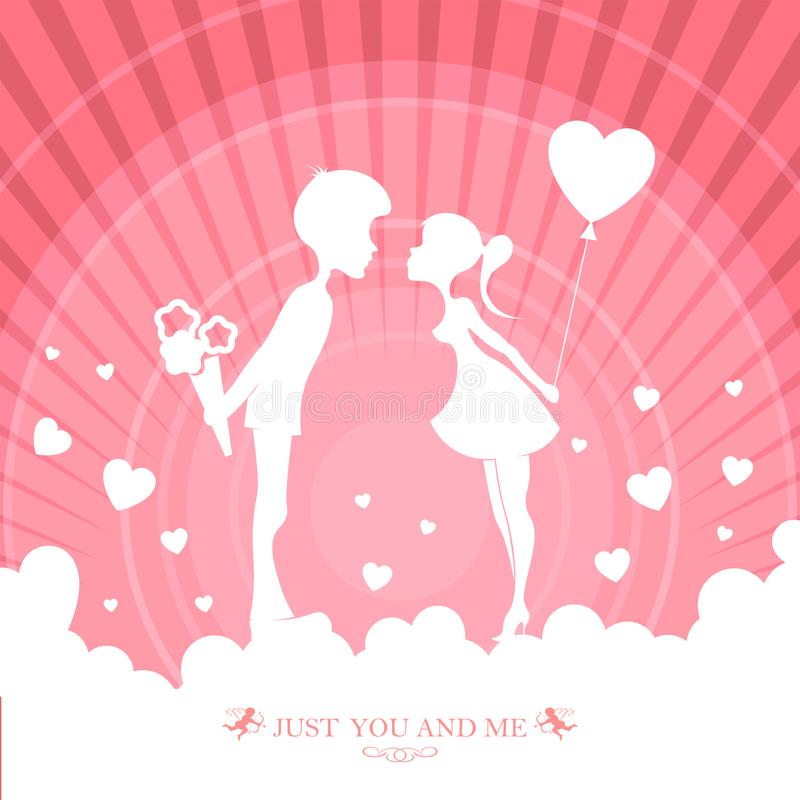 Ontwerp van roze kleur met een silhouet van een kerel met bloemen en een meisje met een ballon royalty-vrije illustratie
