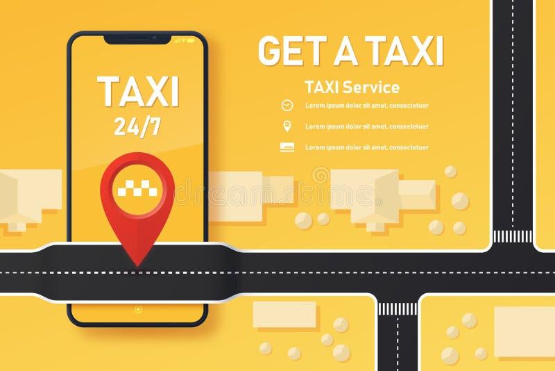 Ontwerp van taxi mobiele toepassing royalty-vrije illustratie