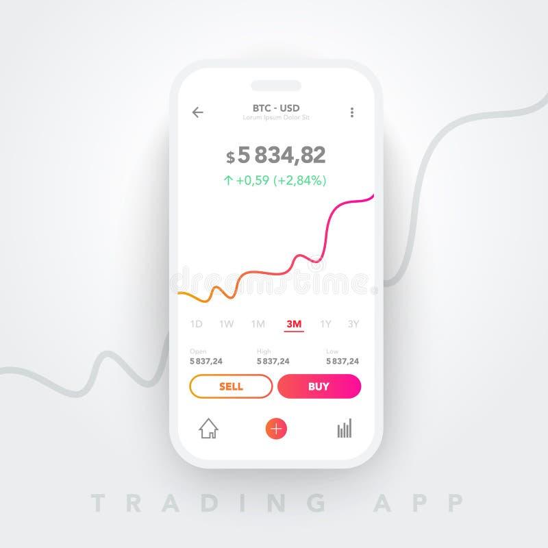 Ontwerp van Vector Clean Mobile UI-ontwerp Trendy Mobile Banking, beurs Financiële gegevensanalyse Handelstakapplicatie royalty-vrije illustratie