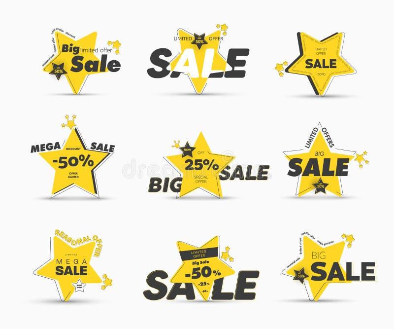 Ontwerp van vector gele star-shaped banners met asymmetrische buitenslag voor mega grote verkoop vector illustratie