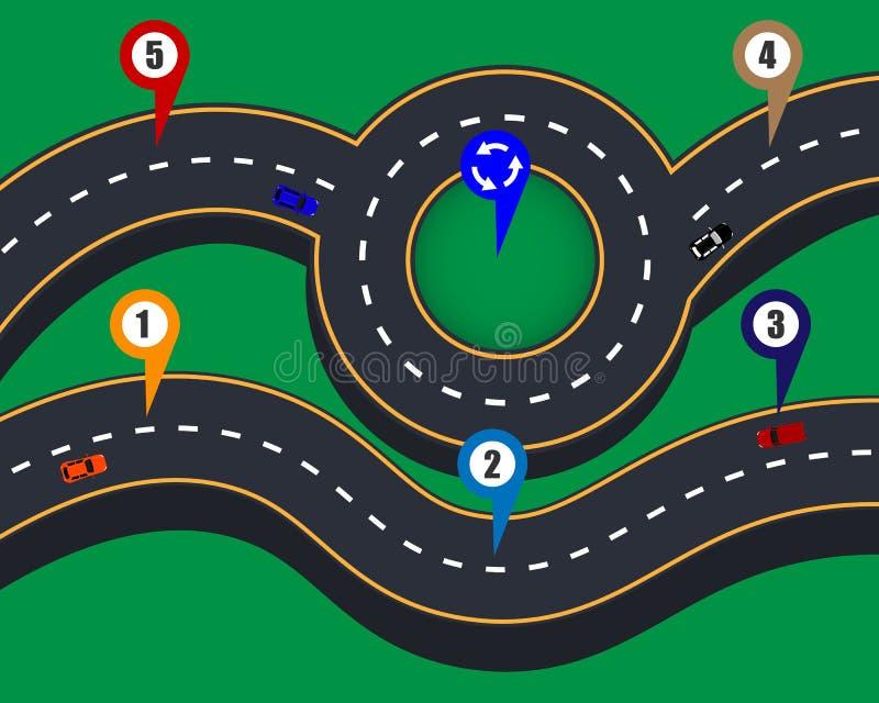 Ontwerp van weg infographic patronen met noteringen vector illustratie