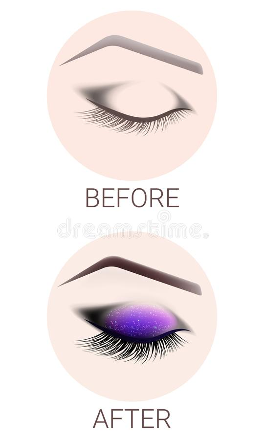 Ontwerp van wenkbrauwen en samenstelling Het gesloten vrouwelijke oog before and after een samenstelling Wimperuitbreiding, wenkb stock illustratie