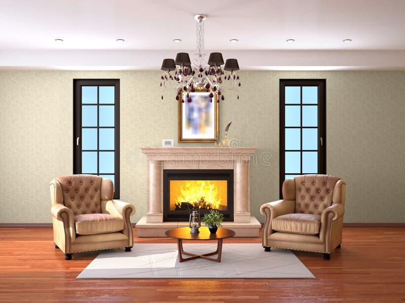 Ontwerp van woonkamer met open haard en twee leunstoelen stock afbeelding