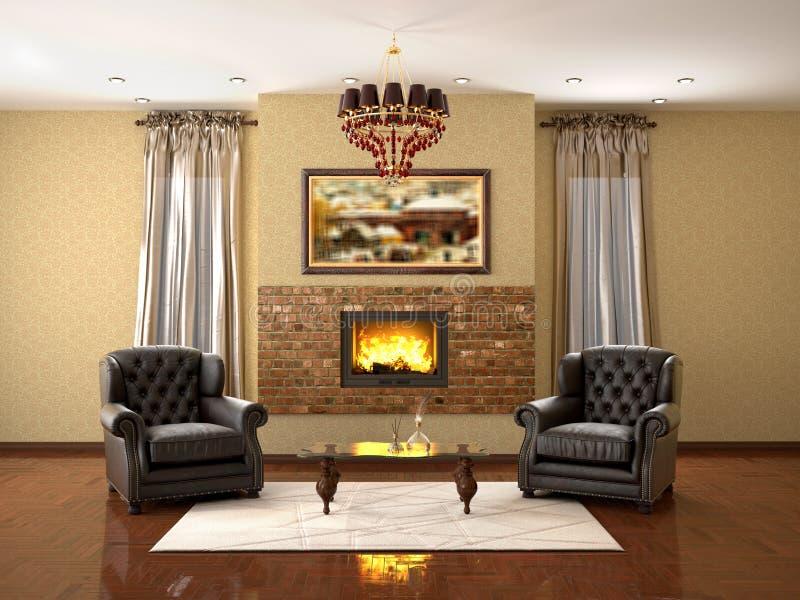 Ontwerp van woonkamer met open haard en twee leunstoelen 3d illus stock foto's