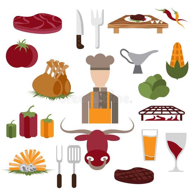 ontwerp vectorpictogrammen van de elementen en de chef-kok van het steakhousevoedsel royalty-vrije illustratie