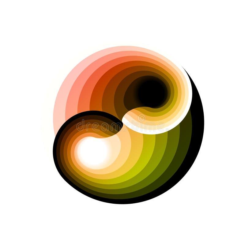 Ontwerp veelkleurig symbool yin-Yang Digitale elektronisch, disco trans ijlt abstractie Ge?soleerdee vectorillustratie Creatieve  royalty-vrije illustratie
