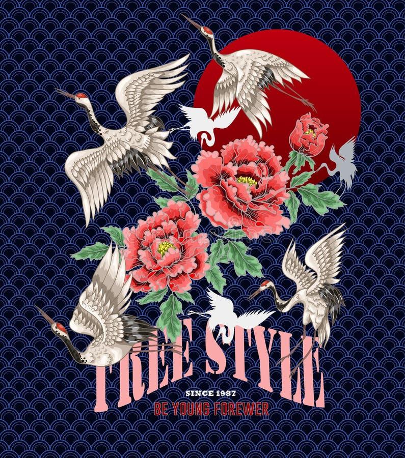 Ontwerp voor kleren in Japanse stijl Witte kranen en pioenen voor borduurwerk of druk royalty-vrije illustratie