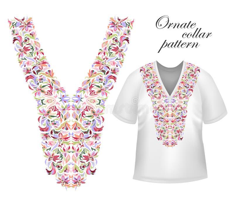 Ontwerp voor kraagoverhemden, overhemden, blouses, T-shirt De zwarte en gouden hals van kleuren etnische bloemen Decoratief Paisl vector illustratie