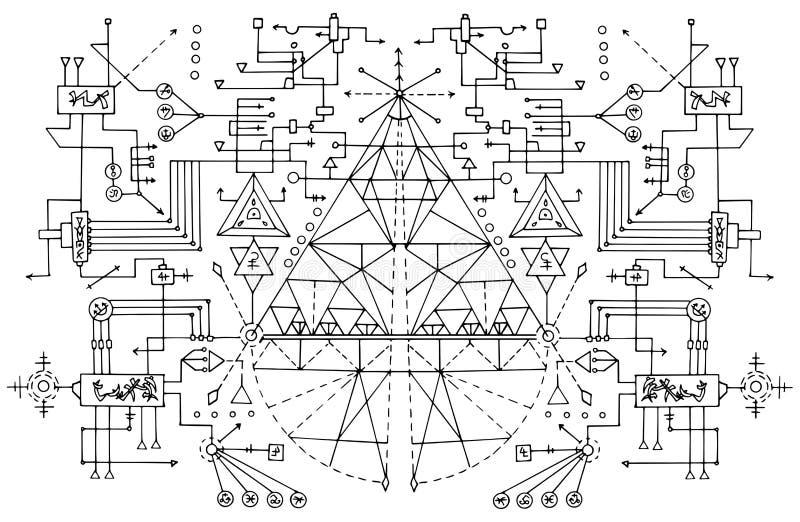 Ontwerpachtergrond met abstracte symbolen royalty-vrije illustratie