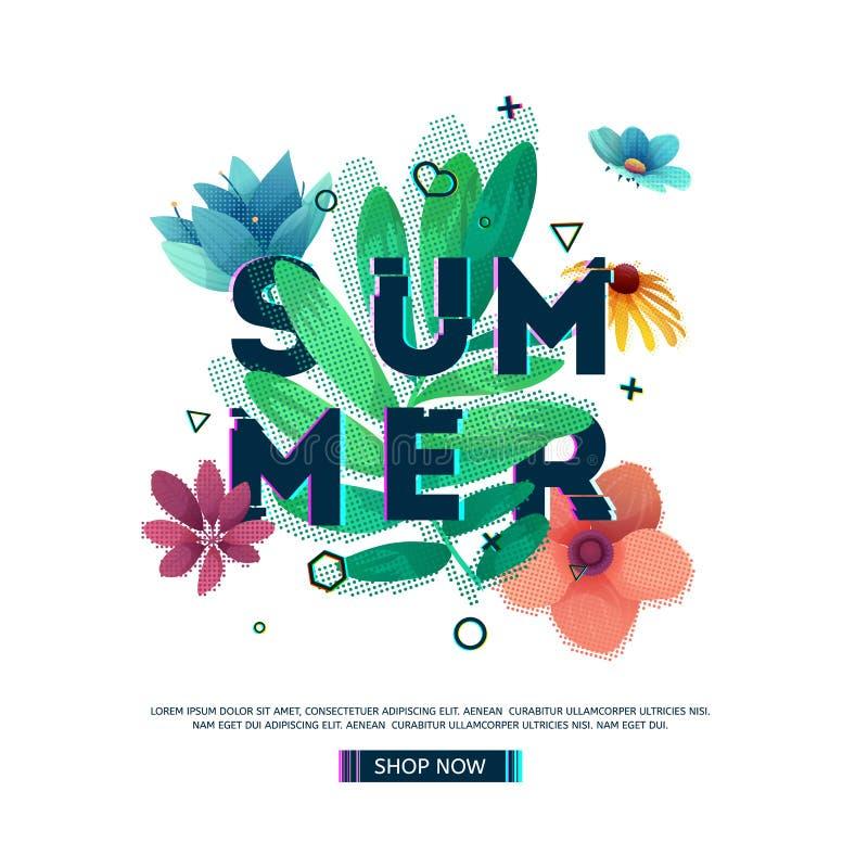 Ontwerpbanner met de Zomertekst Glitch tekst met bloem en installatiedecoratie De affiche van malplaatjeseizoenen met groen blad vector illustratie