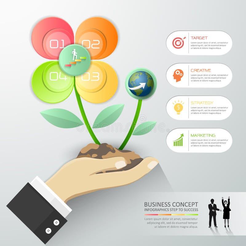 Ontwerpbloem van Bedrijfsconcepten infographic malplaatje, vector illustratie