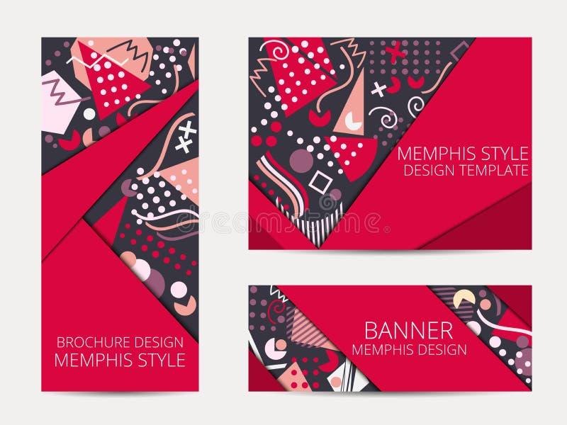 Ontwerpbrochure in de stijl van Memphis Geometrische het patroonbanner en vlieger van Memphis Het Malplaatje van het brochureontw royalty-vrije illustratie