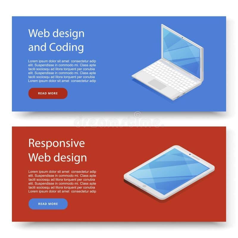 Ontwerpconcepten voor reclame programmering en het coderen apparaat Websiteontwikkeling, Webontwerp Moderne ontwerpbanner voor vector illustratie