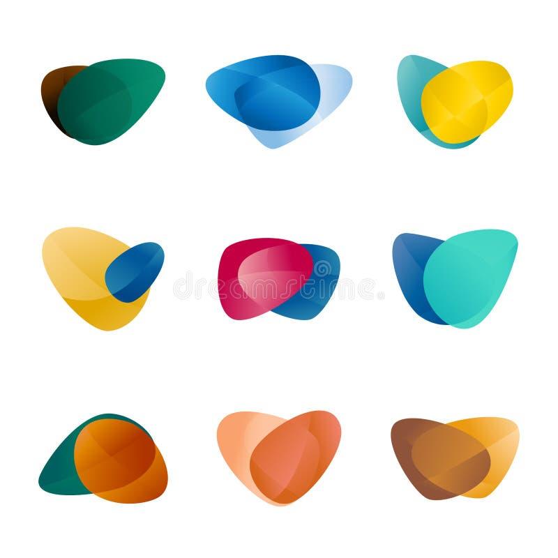 Ontwerpdriehoek, bladeren, lever, liefdehart, circul vector illustratie