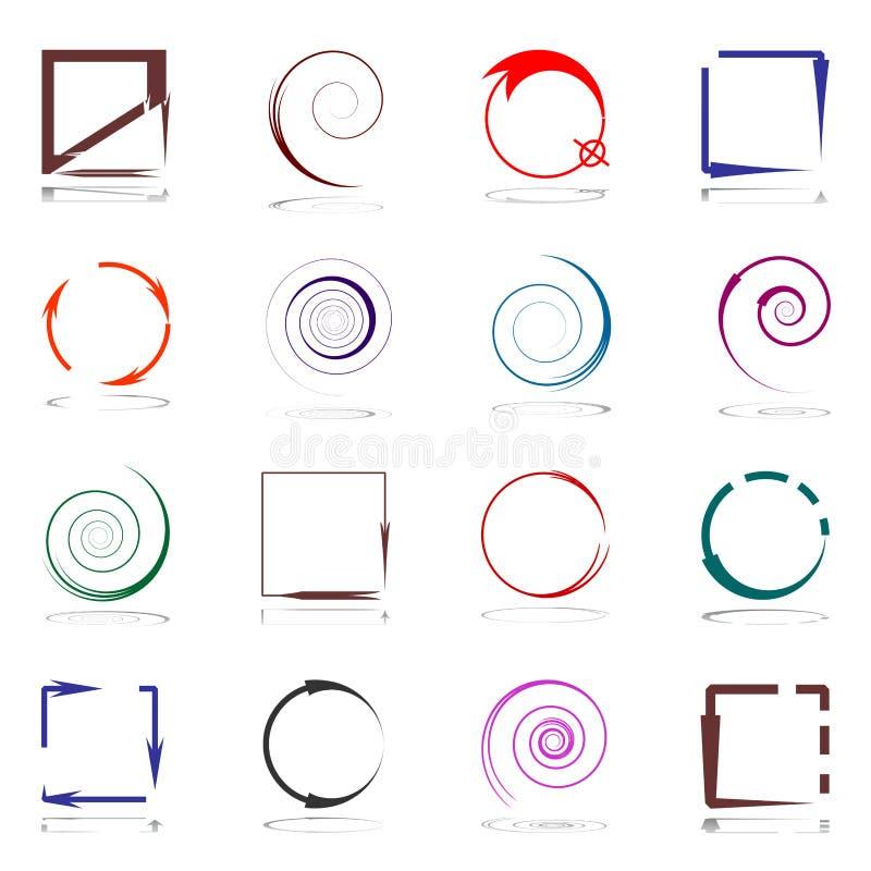 Ontwerpelementen met pijlen worden geplaatst die stock illustratie