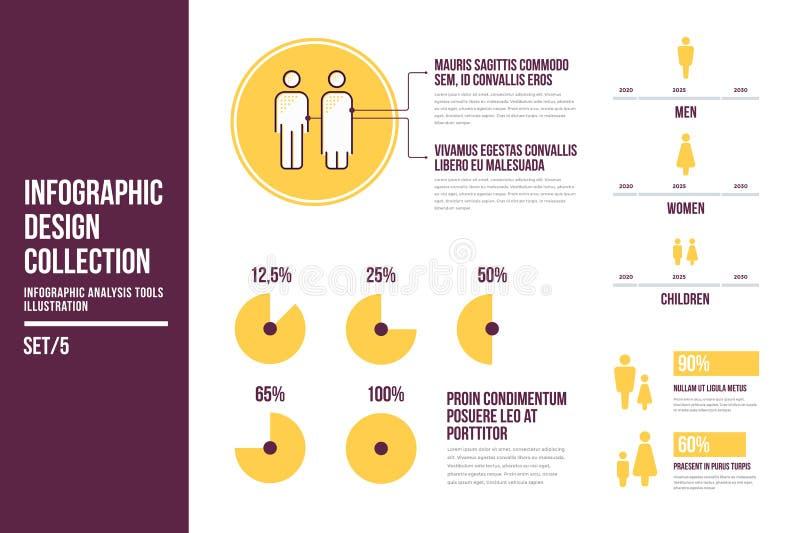 Ontwerpelementen van infographics op onderwerp van de demografie royalty-vrije illustratie