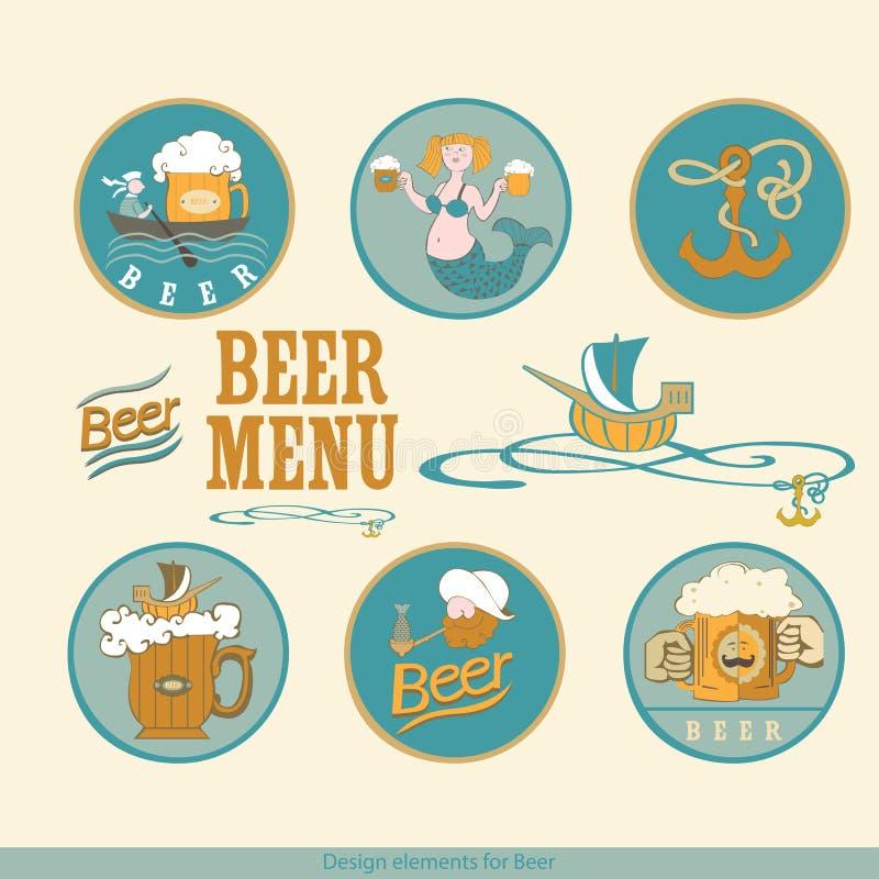 Ontwerpelementen voor bier vector illustratie