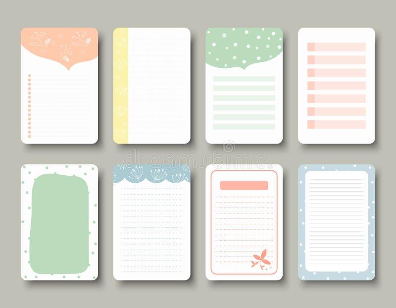 Ontwerpelementen voor notitieboekje, agenda, stickers en ander malplaatje vector, Illustratie stock illustratie