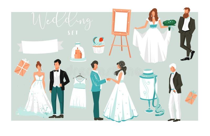 Ontwerpen de hand getrokken vector abstracte beeldverhaalillustraties elementen grote reeks gelukkige enkel echtparenmensen, cake vector illustratie