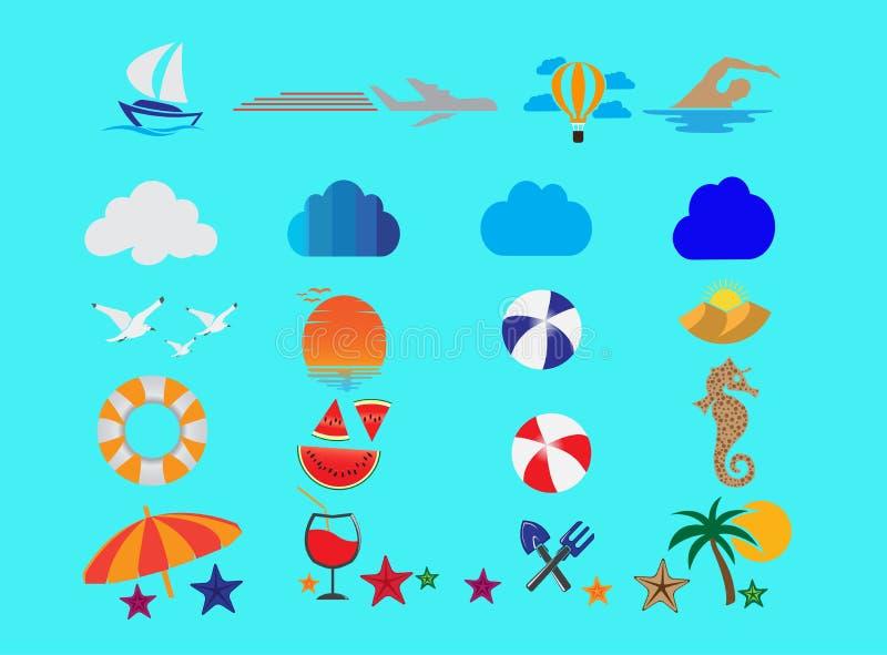Ontwerpen de de zomer vastgestelde pictogrammen en de vliegende zeemeeuwen in het overzees en de zon voor embleem illustratie vector illustratie
