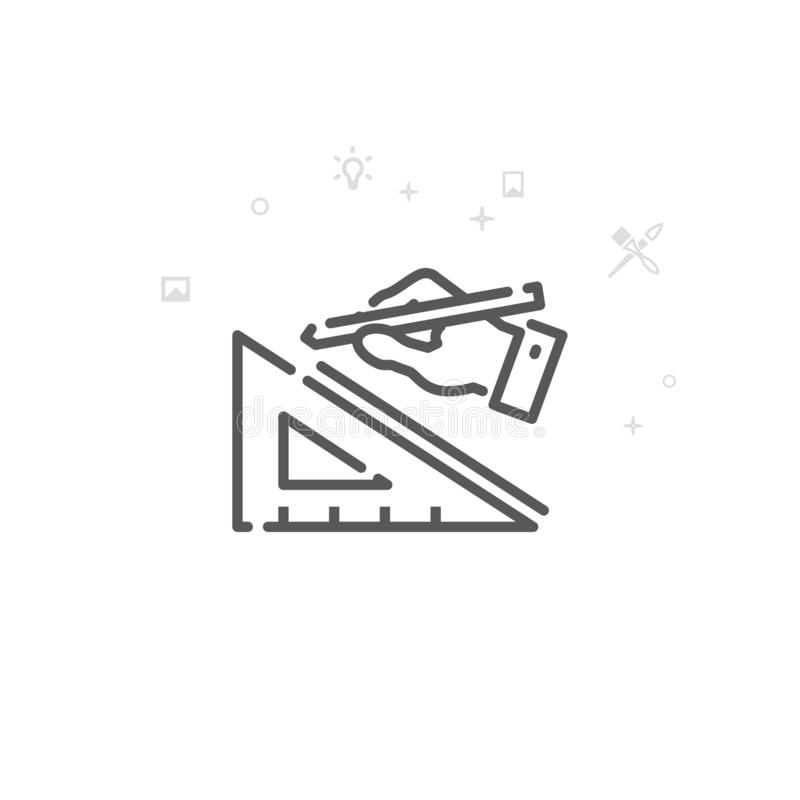 Ontwerper, Architect Vector Line Icon, Symbool, Pictogram, Teken Lichte abstracte geometrische achtergrond Editableslag stock illustratie
