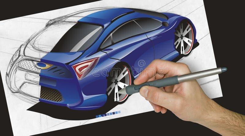 Ontwerper die een auto trekt royalty-vrije stock afbeeldingen