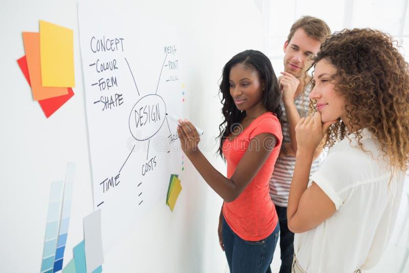 Ontwerper die een stroomschema op whiteboard schrijven terwijl de collega's letten op royalty-vrije stock afbeeldingen