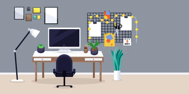 Ontwerper of freelancer het werkplaats, vector vlakke illustratie Creatieve werkplaats met monitor op bureau, moodboard, stoel stock illustratie