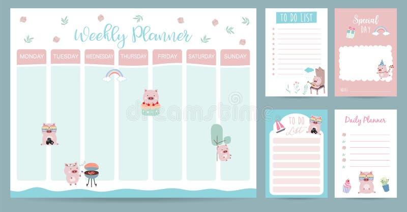 Ontwerper van de pastelkleur 2019 de wekelijkse kalender met varken, regenboog, gift, cactus stock afbeelding