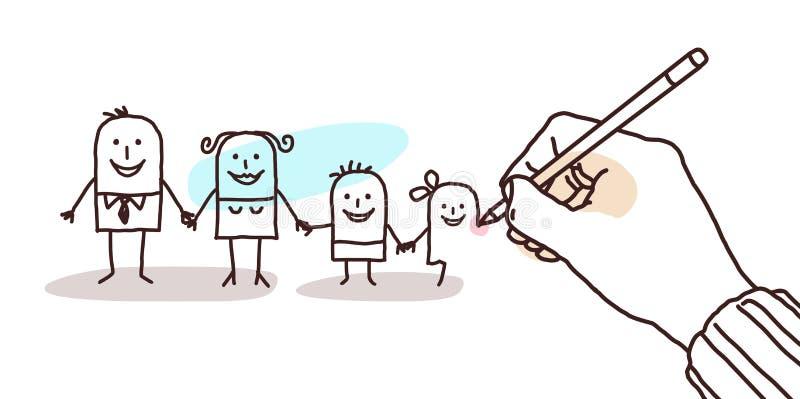 Ontwerperhand die een beeldverhaalfamilie trekken stock illustratie