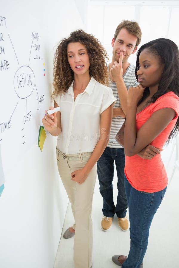 Ontwerpers die een stroomschema op whiteboard bespreken stock foto's