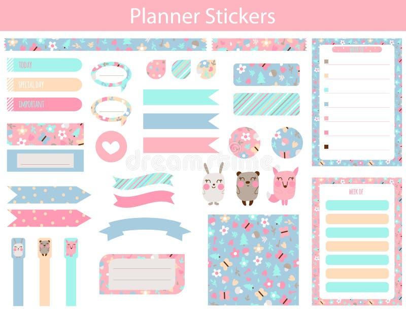 Ontwerpersstickers met leuke dieren en bloemen stock illustratie