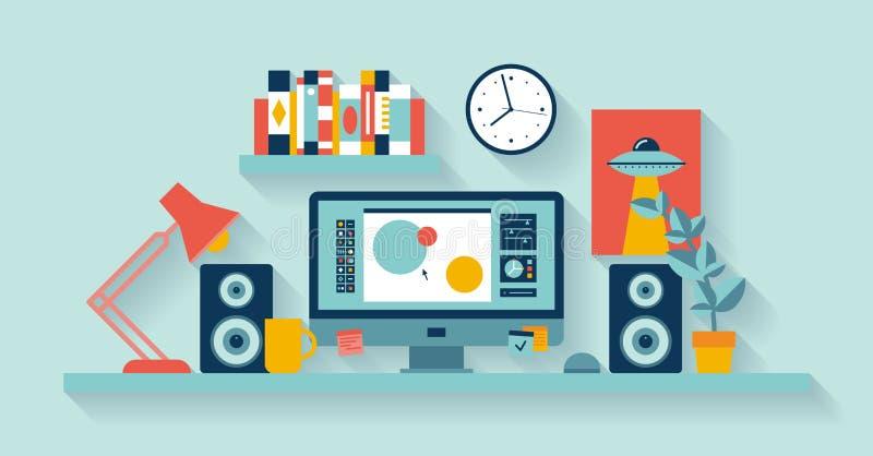 Ontwerperwerkruimte in het bureau stock illustratie