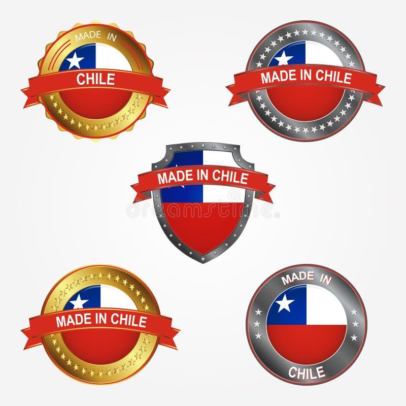 Ontwerpetiket van gemaakt in Chili Vector illustratie royalty-vrije illustratie