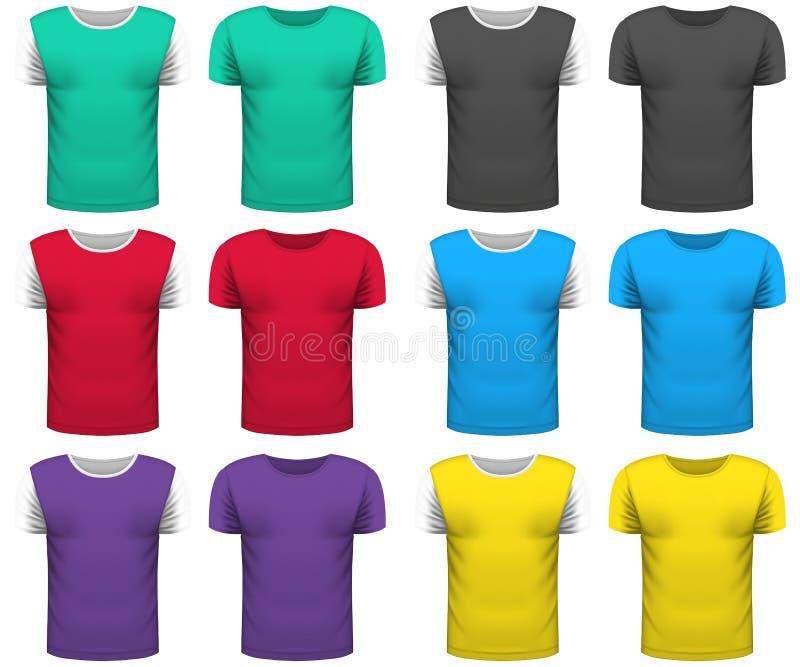 Ontwerpinzameling van realistische T-shirtsspot omhoog op witte backgro vector illustratie