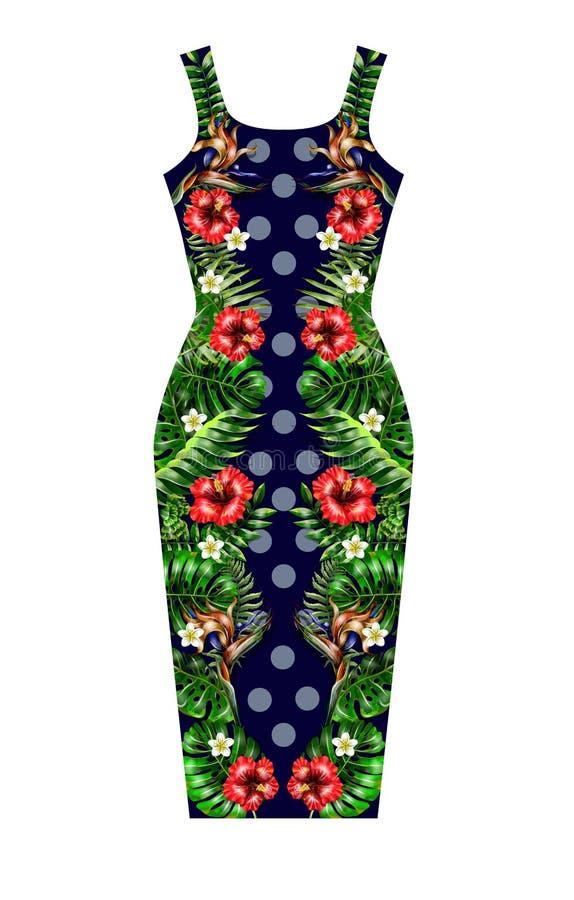 Ontwerpkleding met de de tropische bloemen en bladeren van de symmetriesamenstelling royalty-vrije illustratie