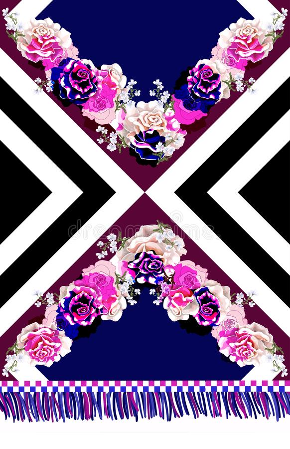 Ontwerpkleding met rozen en geometrische ornamenten Vector illustratie vector illustratie