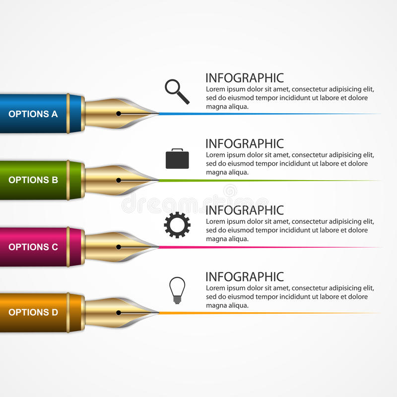 Ontwerpmalplaatje het bedrijfs van Infographic met een pen 3d onderwijsconcept stock illustratie
