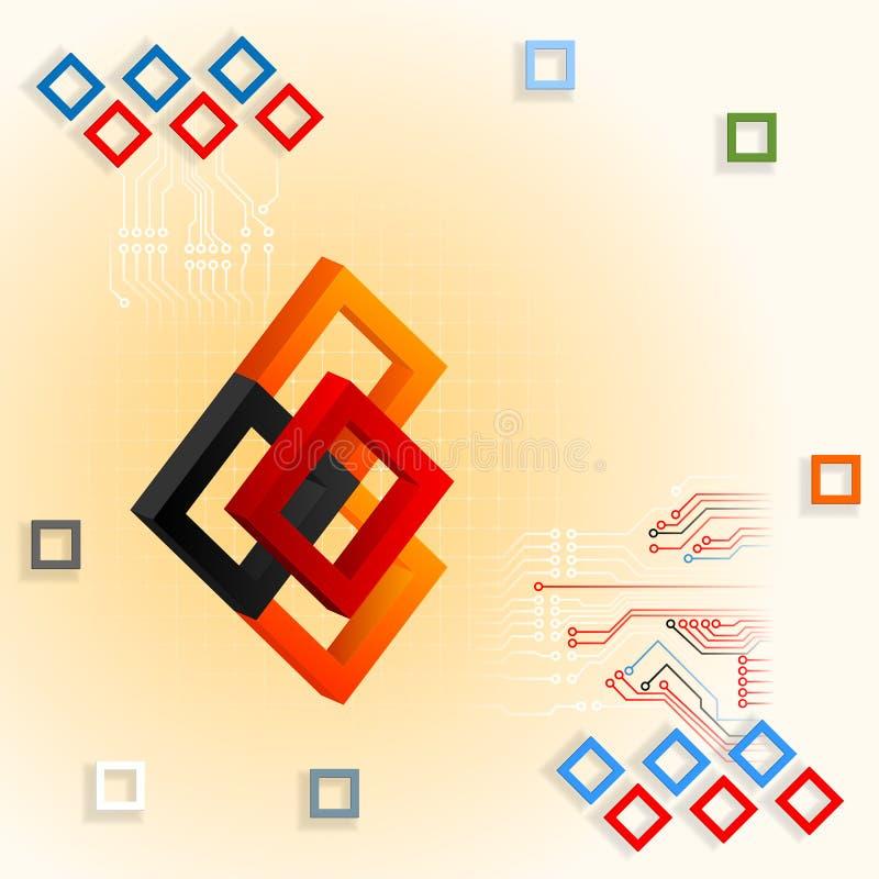 Ontwerpmalplaatje met drie afmetingensamenstelling met kleurrijke vierkanten en elektronische kringen vector illustratie