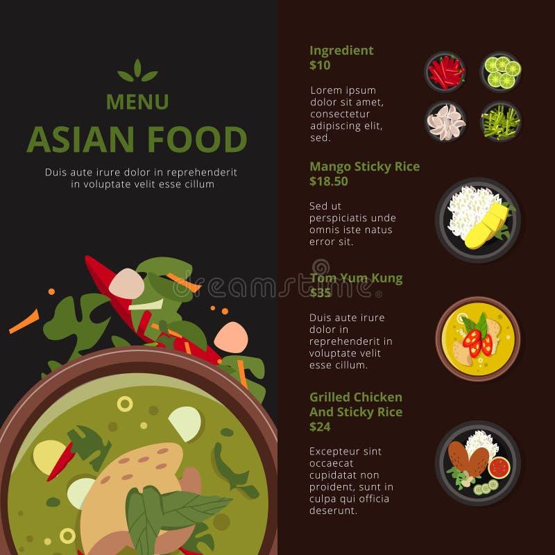 Ontwerpmalplaatje van Aziatisch voedselmenu Illustraties met plaats voor uw tekst Vector Thaise producten stock illustratie