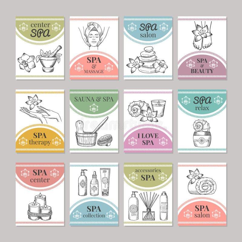 Ontwerpmalplaatje van verschillende kaarten voor kuuroordsalon of kosmetisch centrum royalty-vrije illustratie