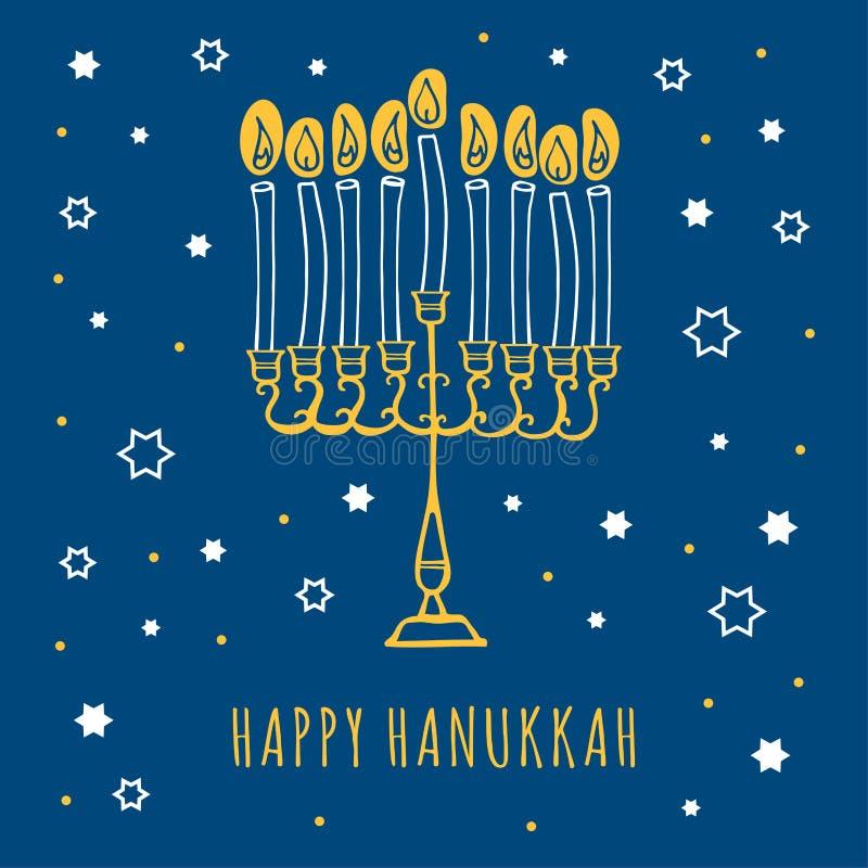 Ontwerpmodel van de hanukkah-wenskaart met sterren, mehorah en kaarsen Handgetekende schetsvectorillustratie vector illustratie