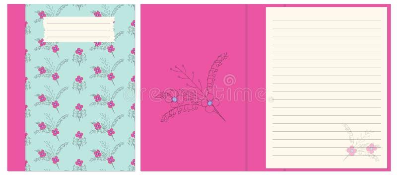 Ontwerpnotitieboekje met blauw bloemenbohopatroon stock illustratie