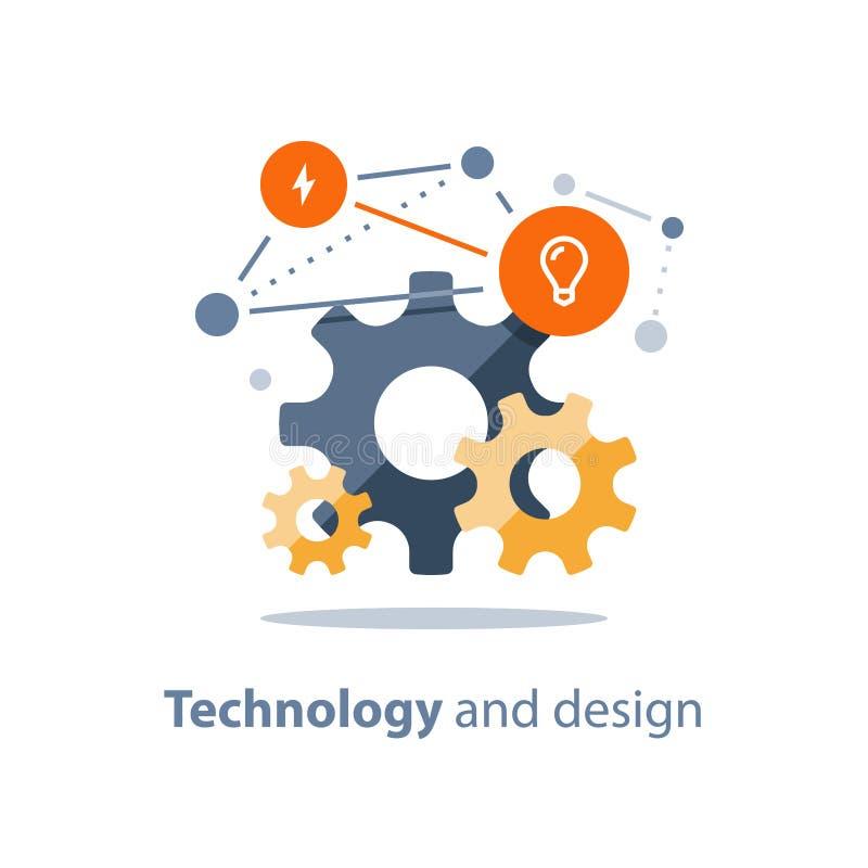 Ontwerpoplossingen, innovatieve technologie, het concept van het teamwerk, nieuwe zaken, startontwikkeling, systeemintegratie royalty-vrije illustratie