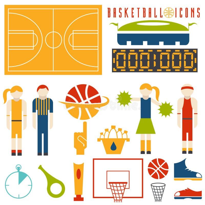 Ontwerppictogrammen van basketbal vector illustratie