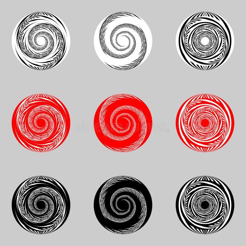 Ontwerpreeks abstracte spiraalvormige elementen stock illustratie