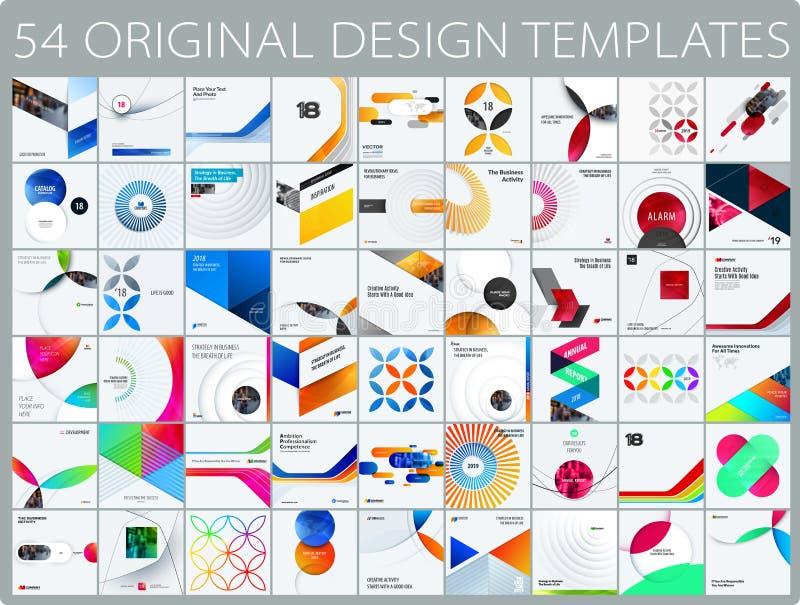 Ontwerpreeks kleurrijke abstracte vectorelementen voor moderne achtergrond met cirkels, vierkanten, driehoeken, vlotte vormen royalty-vrije illustratie